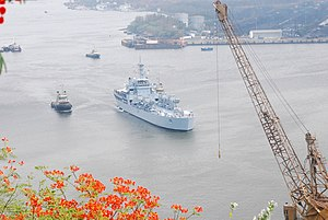 The INS Airavat sails out of Visakhapatnam harbour after commissioning on May 19, 2009.jpg