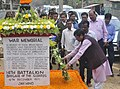 The Minister of State for Agriculture and Farmers Welfare, Shri Sudarshan Bhagat paying homage at the Burial site of Lance Naik Albert Ekka (Paramveer Chakra), Sripalli Village, in Dukli, Agartala on February 20, 2017.jpg