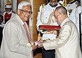 The President, Shri Pranab Mukherjee presenting the Padma Shri Award to Prof. Dipankar Chatterji, at a Civil Investiture Ceremony, at Rashtrapati Bhavan, in New Delhi on April 12, 2016.jpg