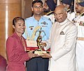 The President, Shri Ram Nath Kovind presenting the Arjuna Award, 2018 to Ms. Hima Das for Athletics, in a glittering ceremony, at Rashtrapati Bhavan, in New Delhi on September 25, 2018.JPG
