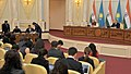 The Prime Minister, Shri Narendra Modi and the President of the Republic of Kazakhstan, Mr. Nursultan Nazarbayev witnessing signing of agreements, at Akorda President's Palace, in Astana, Kazakhstan on July 08, 2015.jpg