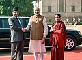 The Prime Minister of Nepal, Mr. Pushpa Kamal Dahal and Mrs. Sita Dahal being received by the Prime Minister, Shri Narendra Modi, at the Ceremonial Reception, at Rashtrapati Bhavan, in New Delhi on September 16, 2016 (1).jpg