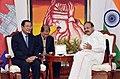 The Vice President, Shri M. Venkaiah Naidu interacting with the Prime Minister of the Kingdom of Cambodia, Mr. Samdech Akka Moha Sena Padei Techo Hun Sen, in New Delhi on January 27, 2018.jpg