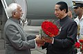 The Vice President, Shri Mohd. Hamid Ansari being received by the Governor of Maharashtra, Shri S.C. Jamir, on his arrival at Mumbai Airport on August 26, 2009.jpg