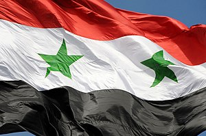 The flag of Syrian Arab Republic / Damascus, Syria