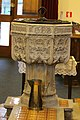 The font of St Andrews Church, Exwick, Exeter. Also the brass jug used for chrisenings.jpg