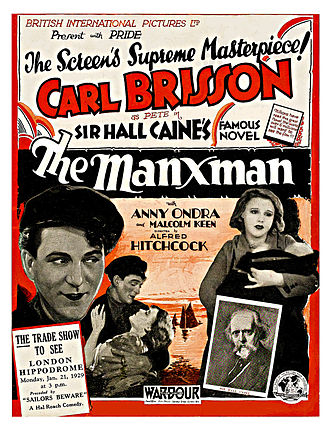 The Manxman (novel) - Advertising poster for the 1929 film adaption by Alfred Hitchcock