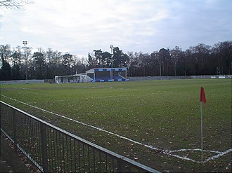 Fleet Town F.C. - The club's home ground, showing the new stand which replaced the one destroyed by fire in 1992