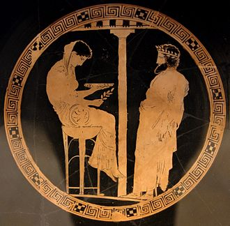 Aegeus - Themis and Aegeus. Attic red-figure kylix, 440–430 BC