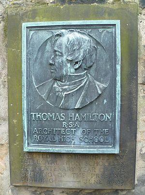 Thomas Hamilton (architect) - Centenary plaque commemorating the building of the new Royal High School in Edinburgh