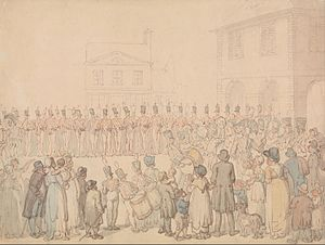 Northampton Militia - The Northampton Milita at Brackley-sketch by Thomas Rowlandson.