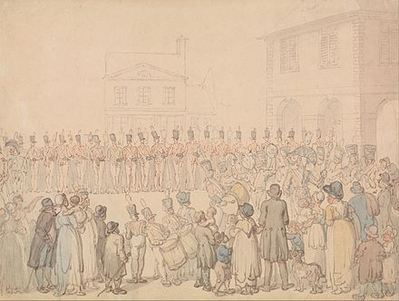 A review of the Northampton Militia. Formed in 1763, it men were selected by ballot to serve for a period of time. Thomas Rowlandson - A Review of the Northapmton Militia at Brackley - Google Art Project.jpg