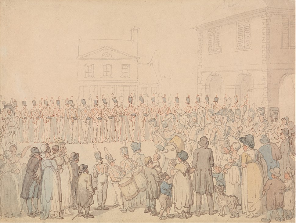 Thomas Rowlandson - A Review of the Northapmton Militia at Brackley - Google Art Project