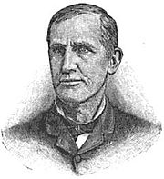 A black and white line drawing of a man in his thirties