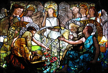 Science and Religion are portrayed to be in harmony in the Tiffany window Education (1890). Tiffany Education (center).JPG
