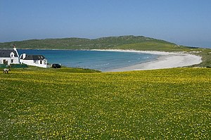Inner Hebrides - Looking west to Balephuil Bay, Tiree across the machair.