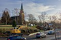 Tjøme kirke Church 1866 Winter afternoon sky Østveien Kirkebygda Personbiler Gravemaskiner Excavators Cars No snow etc Færder Municipality, Norway 2020-01-15 1899.jpg