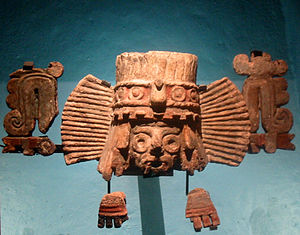 Tlaloc - Fragments of a brazier depicting Tlaloc from Stage IVB of the Great Temple in Mexico City.