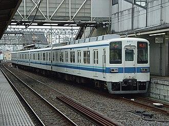 Tobu Ogose Line - An Ogose Line 8000 series EMU at Sakado station in September 2006
