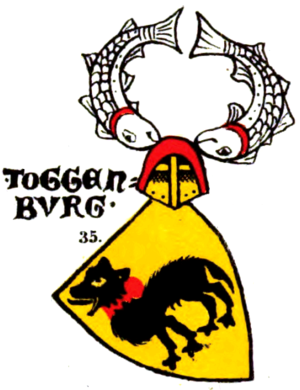Hound (heraldry) - Coat of arms of the counts of Toggenburg in the Zürich armorial (c. 1340)