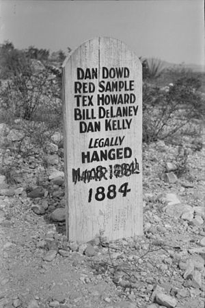 Bisbee massacre - Grave marker in the Tombstone Boothill Graveyard for the five outlaws who committed the Bisbee Massacre