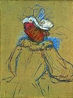 Toulouse-Lautrec - FEMME ROUSSE VUE DE DOS ( étude pour Au Nouveau Cirque la clownesse et les cinq plastrons(1891)), 1891, MTL.140.jpg