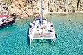 Tour boat at Kleftiko on Milos Island, Greece.jpg