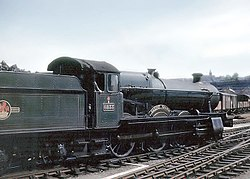 Great Western Railway No. 6833 Calcot Grange, a 4-6-0 Grange class steam locomotive, at Bristol Temple Meads station, Bristol, England. Note the Belpaire (square-topped) firebox.