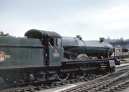 Great Western Railway No. 6833 Calcot Grange, a 4-6-0 Grange class steam locomotive at Bristol Temple Meads station. Note the Belpaire (square-topped) firebox. Train.calcot.grange.750pix.jpg