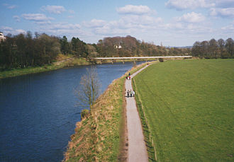 Lancaster Canal Tramroad - The River Ribble with the tramway bridge in the background