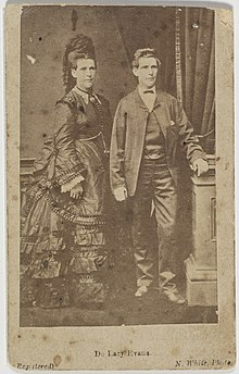 Double image of Evans from 1879 dressed in traditionally male and female clothing