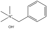 Skeletal formula of benzyltrimethylammonium hydroxide