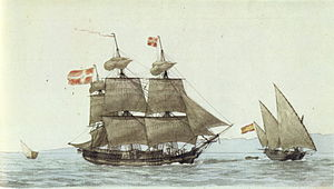 Pink (ship) - Danish three-masted ship and Spanish pink (right), by Antoine Roux.