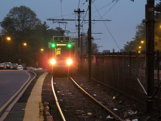 Boston College (MBTA station) - This median platform, built in the 1970s, was used during construction of the current platforms in 2009