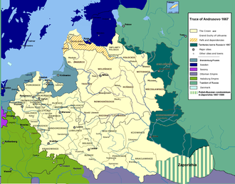 Truce of Andrusovo - The Polish–Lithuanian Commonwealth in 1667: dark green indicates areas ceded to the Tsardom of Russia at Andrusovo