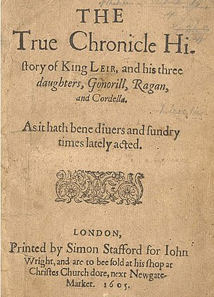 King Leir - 1605 quarto of The True Chronicle History of King Leir
