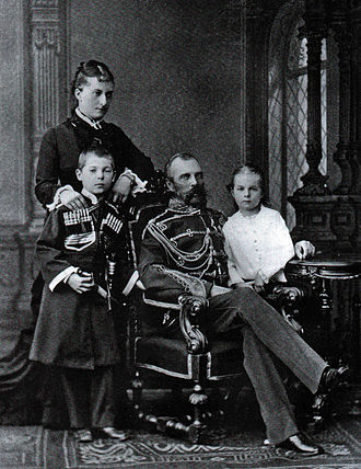 Catherine Dolgorukov - Tsar Alexander II, Princess Catherine Dolgorukova with their children George and Olga
