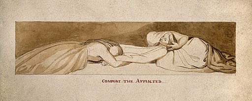 Two women weeping over a prone figure. Drawing, c. 1793. Wellcome V0009302