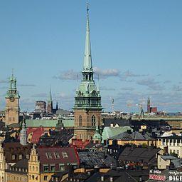 Den tyske kirke i bybilledet, i baggrunden ses (fr. til venstre) Storkirken, Johannes kirke og Engelbrektskirken
