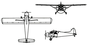 Orthographically projected diagram of the de Havilland Canada DHC-2 Beaver.