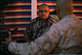 U.S. Marine Corps Col. Richard C. Jackson, right foreground, the chief of staff of Marine Corps Forces Central Command (Forward), discusses scheduled events with Royal Jordanian Army Col. Salahaldien Al Momni 130609-M-UV027-101.jpg