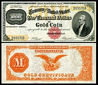 $1,000 Gold Certificate, Series 1882, Fr.1218g, depicting Alexander Hamilton