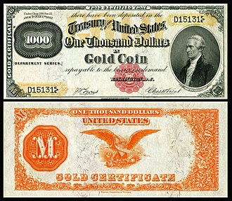Gold certificate - $1,000 1882 gold certificate depicting Alexander Hamilton