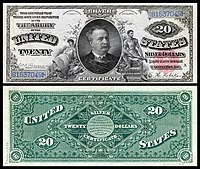 $20 Silver Certificate, Series 1886, Fr.316, depicting Daniel Manning