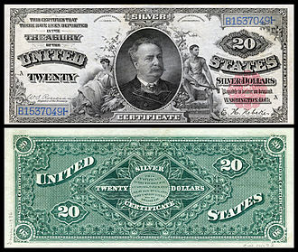 Daniel Manning - Manning depicted on a Series 1886 silver certificate.