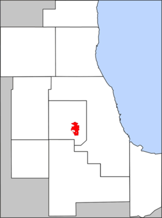 Downers Grove, Illinois - Map of the village's boundaries within DuPage County