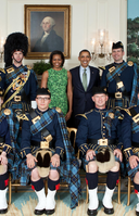 "US Air Force Reserve Pipe Band in highland dress (reservist ""2001"" tartan) with President Barack Obama in the White House Diplomatic Reception Room"