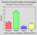 USA 2009. Percent of adult males incarcerated by race and ethnicity.png