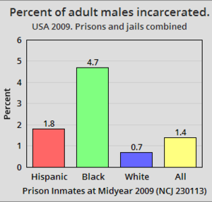 Race and crime in the United States - Image: USA 2009. Percent of adult males incarcerated by race and ethnicity
