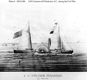 USS Cimarron (1862-1865) Contemporary lithograph, depicting her off Charleston, South Carolina, during the Civil War